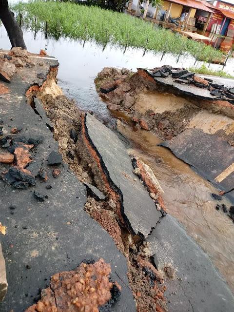 estrada rompe em Ilha Grande